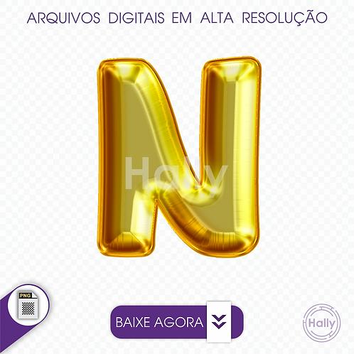 Arquivo Digital PNG -Letra Balão - Ouro ( N ) Maiúscula