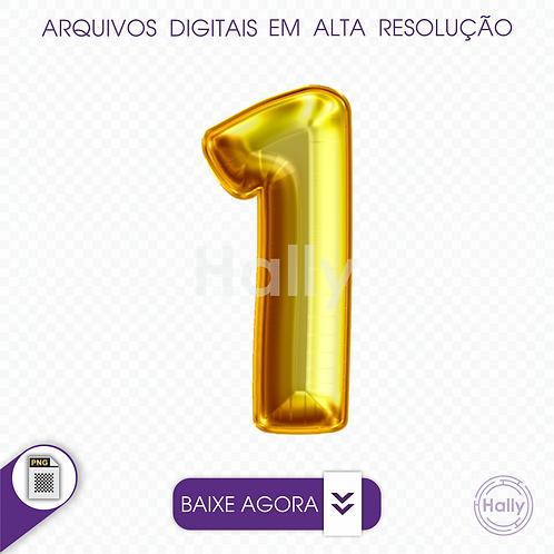 Arquivo Digital PNG -Letra Balão - Ouro Número 1