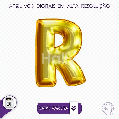 Arquivo Digital PNG -Letra Balão - Ouro ( R ) Maiúscula