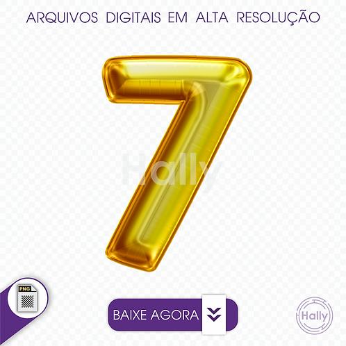 Arquivo Digital PNG -Letra Balão - Ouro Número 7