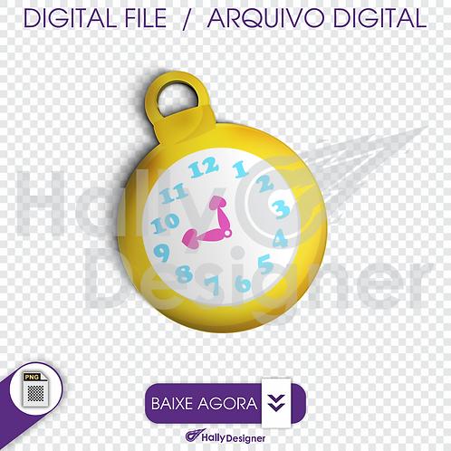 Arquivo Digital PNG - Festa Alice - Relógio