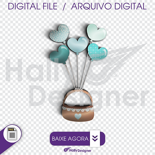 Arquivo Digital PNG - Festa Balão - Cesto com Balões