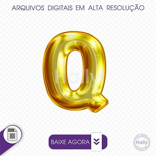 Arquivo Digital PNG -Letra Balão - Ouro ( Q ) Maiúscula