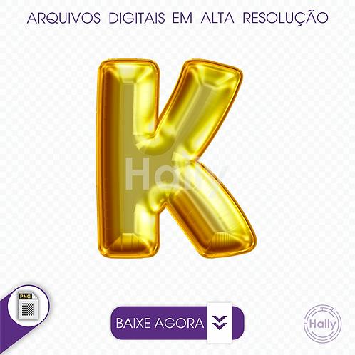Arquivo Digital PNG -Letra Balão - Ouro ( K ) Maiúscula