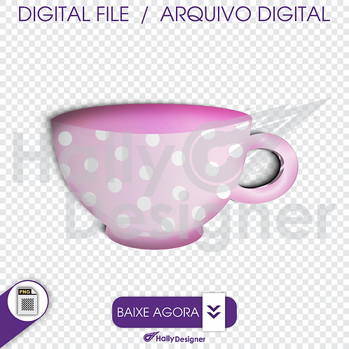Arquivo Digital PNG - Festa Alice - Xícara Rosa Claro
