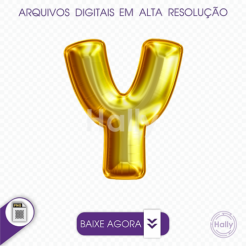 Arquivo Digital PNG -Letra Balão - Ouro ( Y ) Maiúscula
