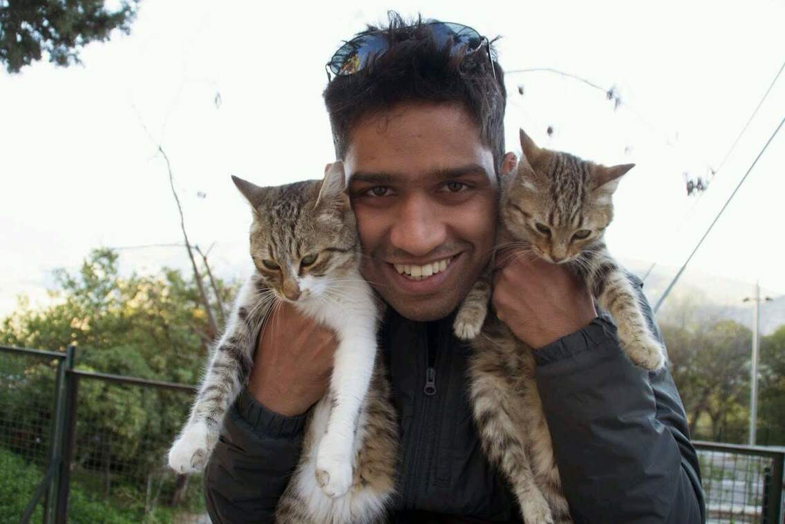 Rahul with cats