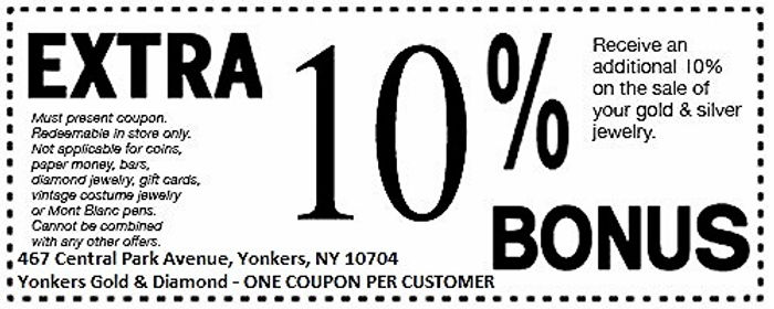 Yonkers Gold and Diamond Cash for Gold 10% BONUS Coupon