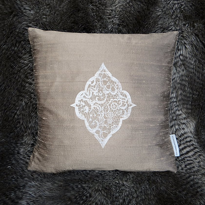 SILK CUSHION IN TAUPE
