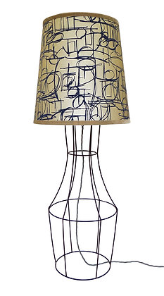 Figura 'Asesegua' Pearl & Electric Blue Flock Floor Lamp