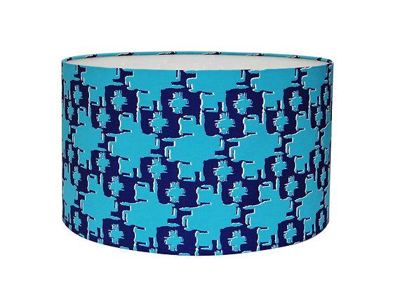 'Hwe Me Dua' Light Blue & Navy Linen Lampshade or Pendant