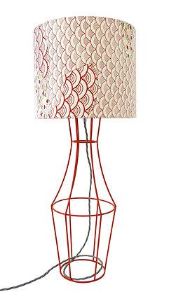 Orange Figura table lamp with vintage lampshade