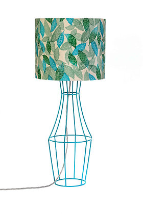 Teal Figura table lamp with vintage lampshade