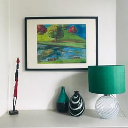 Emerald green silk lampshade