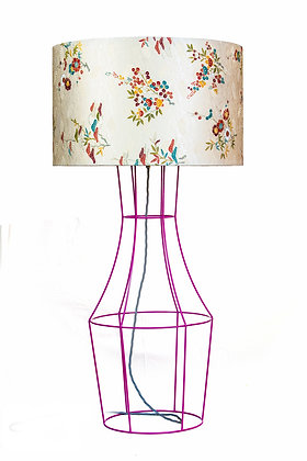 Pink Figura table lamp with vintage lampshade
