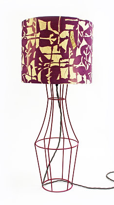 Hot pink Figura table lamp with vintage lampshade