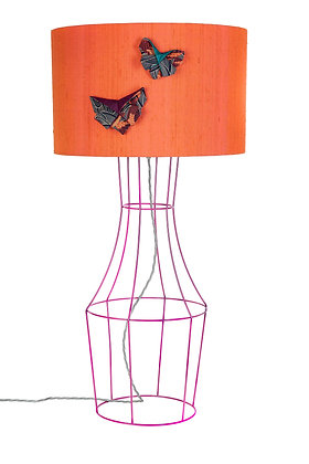 Pink Figura table lamp with silk lampshade