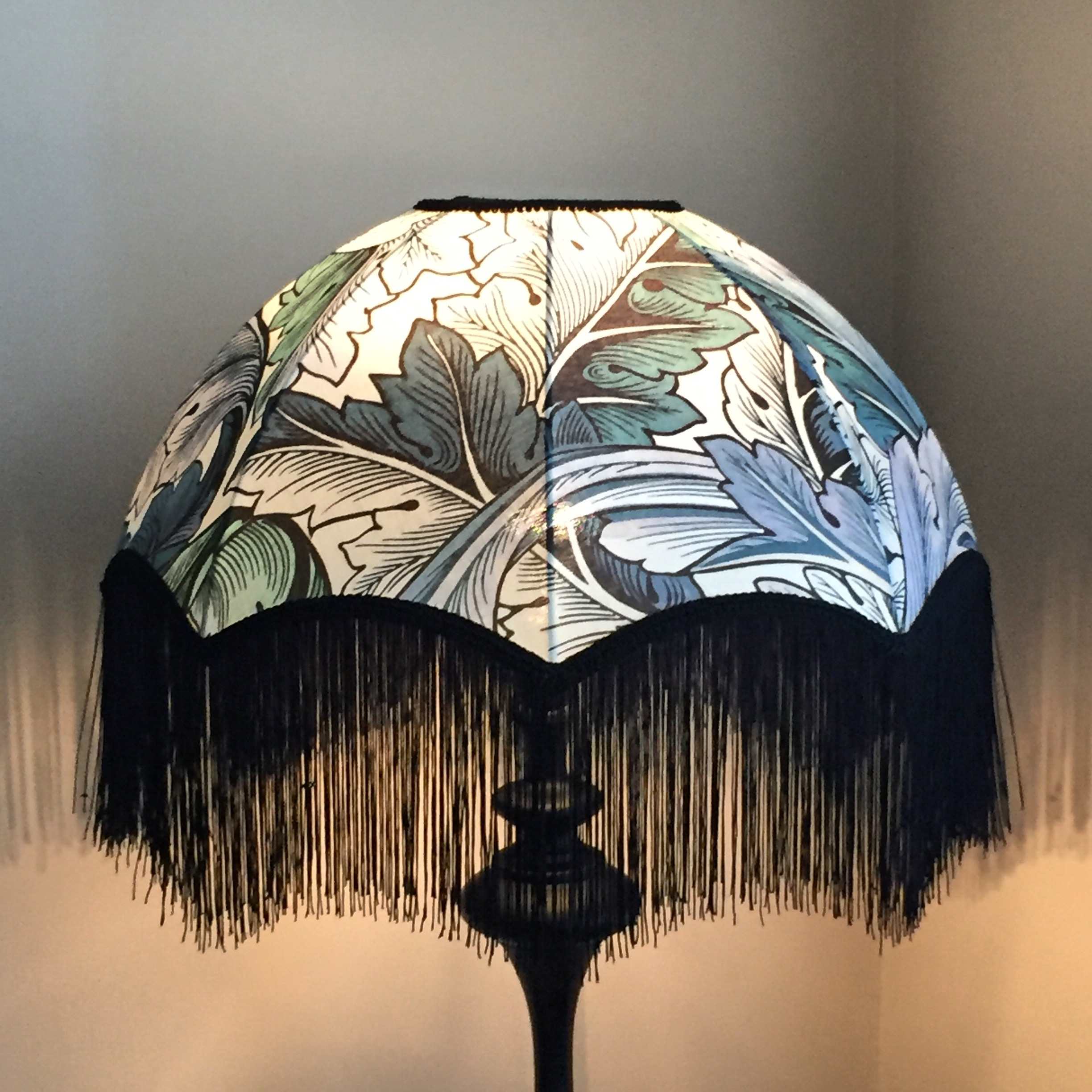 Bespoke lampshade with a fringe, fabric House of Hackney