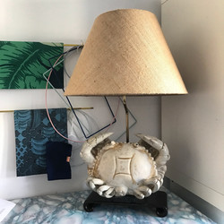 Bespoke Hessian shade for the very special vintage 'Crab' lamp