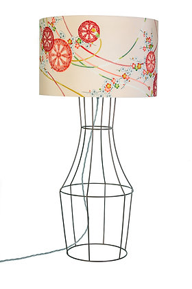 Copper Figura table lamp with vintage lampshade