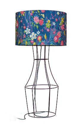 Aubergine Figura table lamp with vintage lampshade