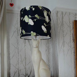 Vintage cat lamp with a vintage Kimono lampshade