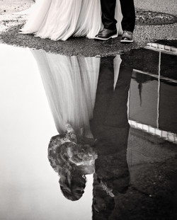 reflection in puddle wedding