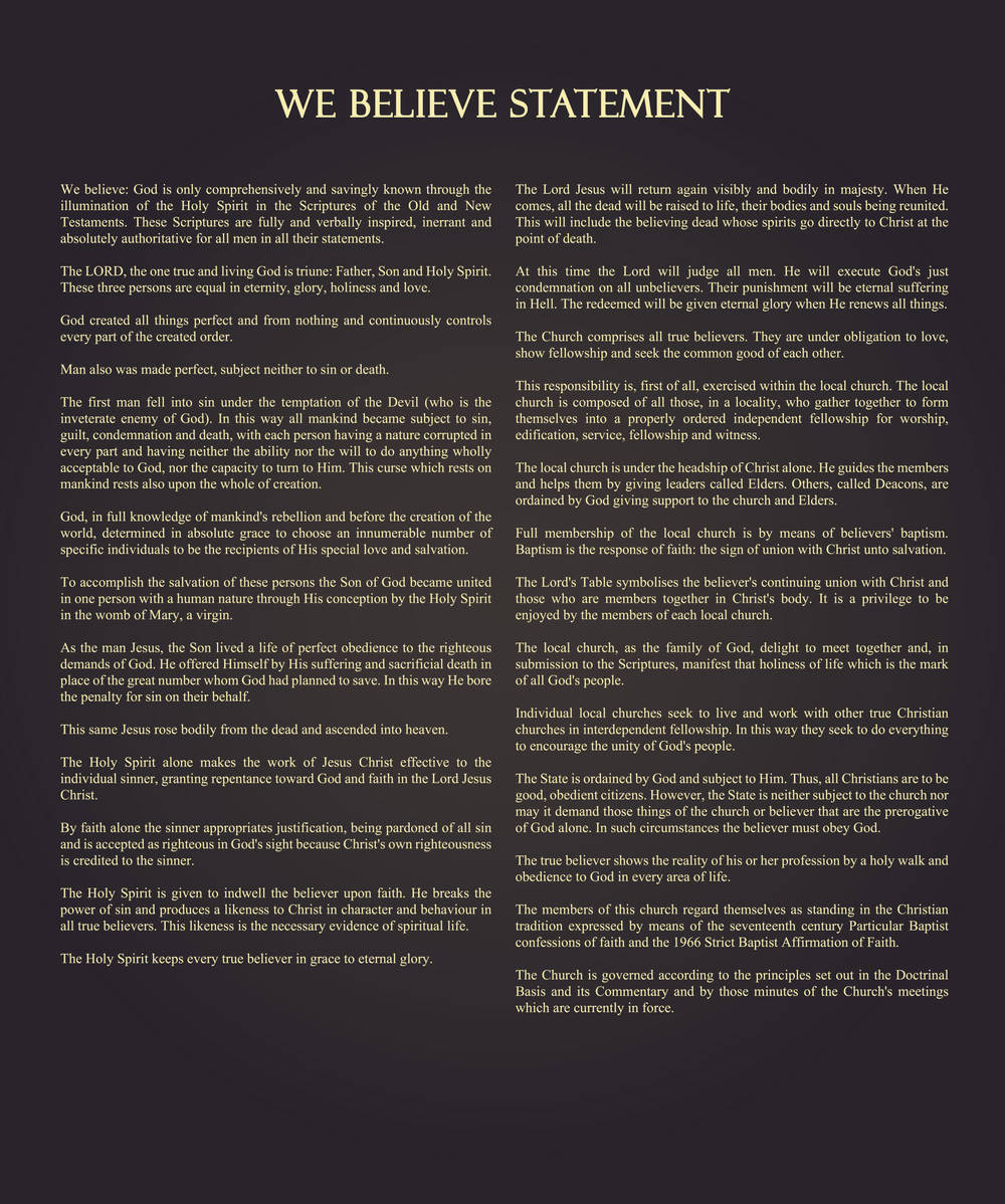 We Believe Statement