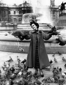 Elizabeth Taylor Has Some Fun Surrounded by Pigeons in Trafalgar Square, London, November 1948
