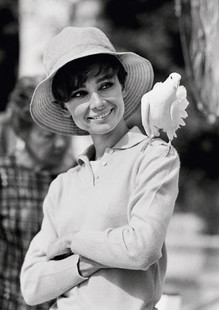 Audrey Hepburn With a Dove Perched on Her Shoulder in St. Tropez, 1966