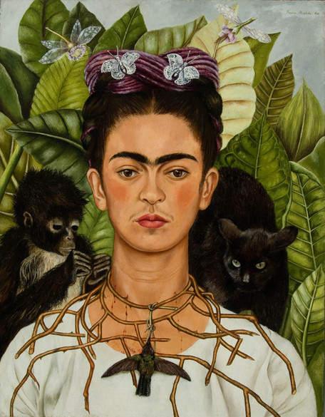 Frida Kahlo - Self Portrait with Necklace of Thorns and Hummingbird (1940)