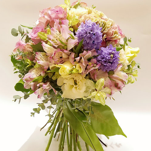Wedding Flower Bouquet (1) - Purple roses, Eustoma, Hyacinth