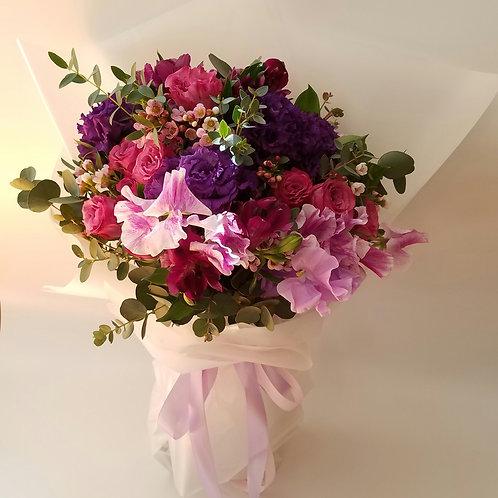 Flower Basket for Hong Kong delivery - Hydrangea, Purple Roses, sweet pea & Eustomas