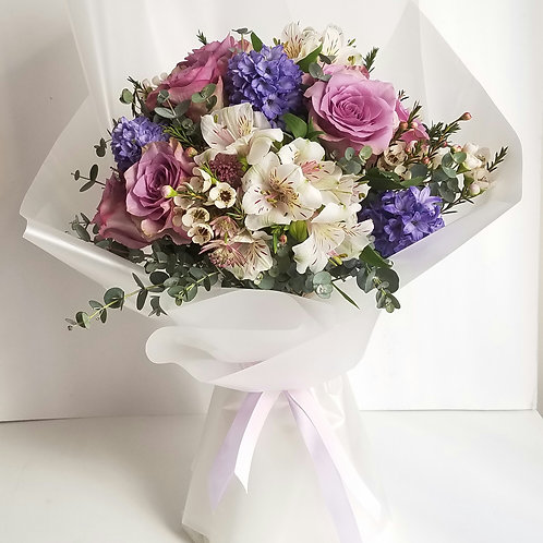 Flower Bouquet for Anniversary, Romance - Purple Roses & Hyacinths