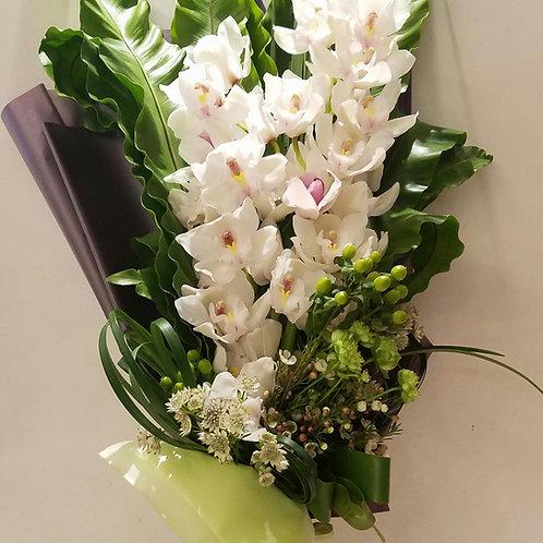 Flower Bouquet new born baby celebration - Cymbidium & Assorted Flowers