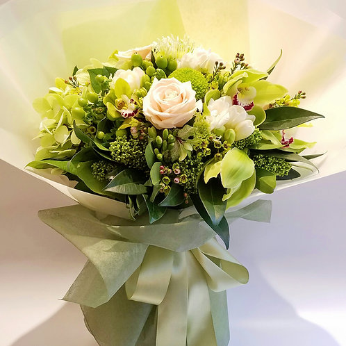 Flower Bouquet for congratulation - Hydrangea, Cymbidium & Champagne Roses