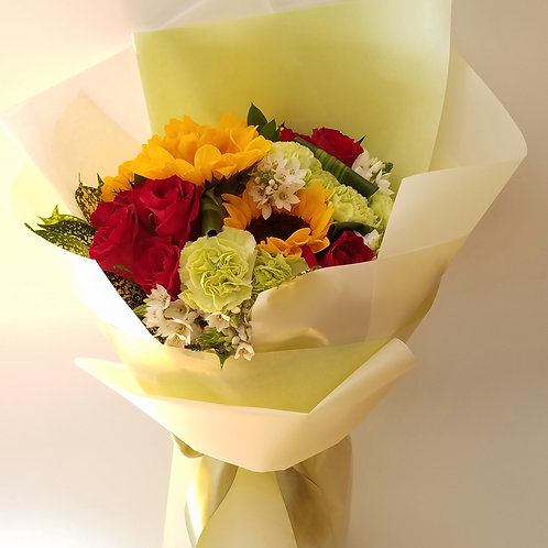 Flower Bouquet for thank you - Sunflowers & Red Roses