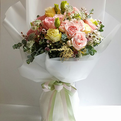 Flower Bouquet for graduation - Pink Roses & Eustomas