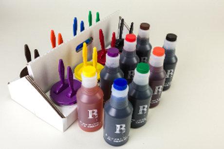 "Eco Caddy, 8 Ink Wells w/1"" & 2""Brush & Ink"
