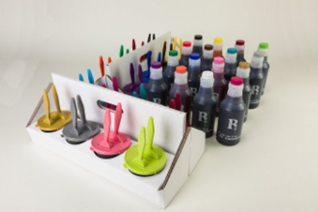 "Eco Caddy, 16 Ink Wells w/1"" & 2""Brush & 16 Pts of Ink"