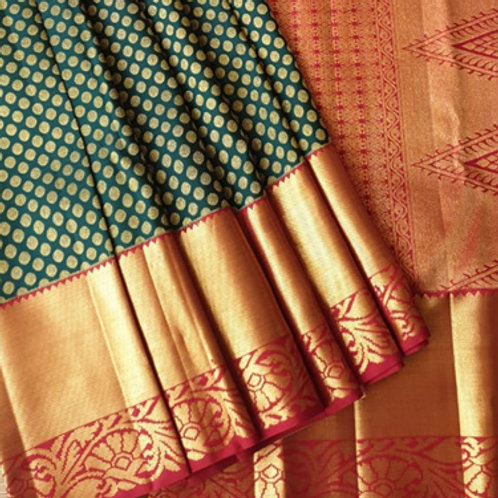 Periwinkle Kanchipuram Silk Saree with Grey Border