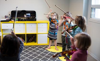 Group Suzuki method violin class at Upper Beaches Music School
