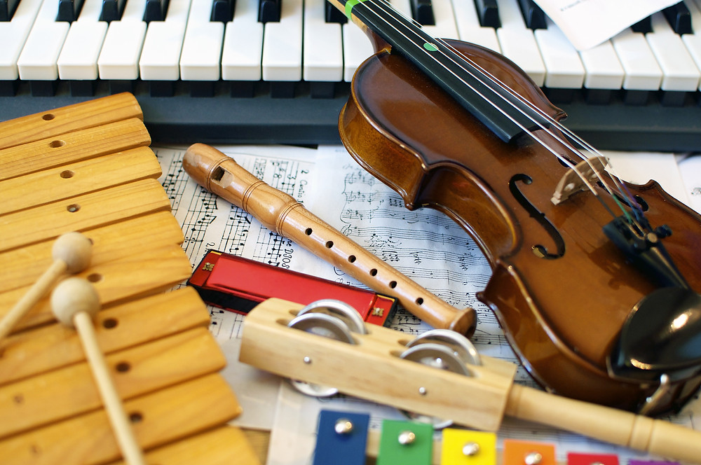 musical instruments children play: violin, piano, xylophone, recorder.