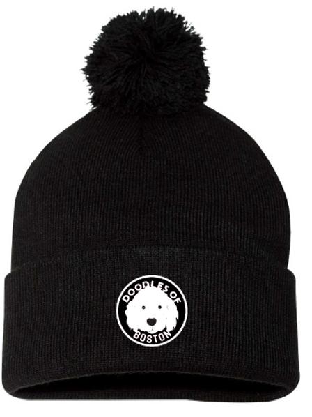 Doodles Black Pom Hat Embroidered logo