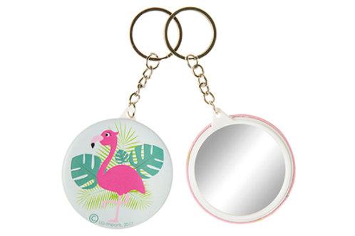 porte-clés miroir flamant rose