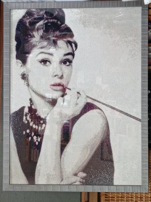 Audrey Hepburn en diamant painting 65x 85