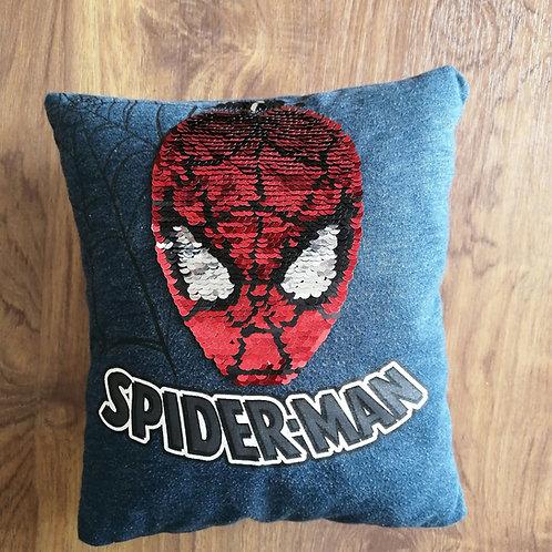 """Coussin """"Spiderman"""" sequins réversibles"""