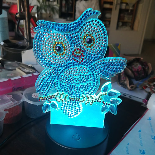 Lampe led Hibou en diamond painting