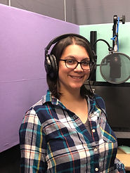Voice actor Gina Scarpa at Positive Voices Studio