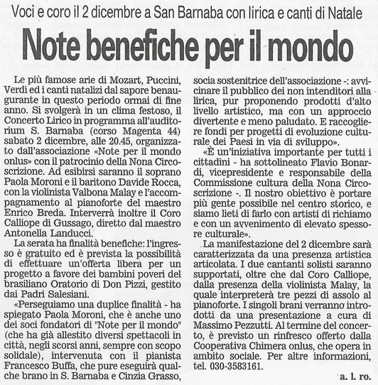 23 dicembre 2006 Giornale di Brescia